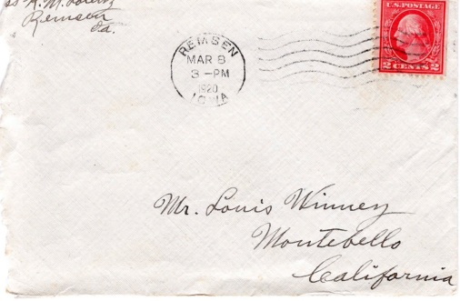 Ltr from Aunt Kathryn Lorenz to Lou and Mabel_March 7, 1920_envelope